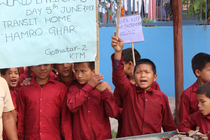 Children at Hamro Ghar Participated in Campaign World Environment Day on June 12 2013 Calling for a Positive Environmental Action