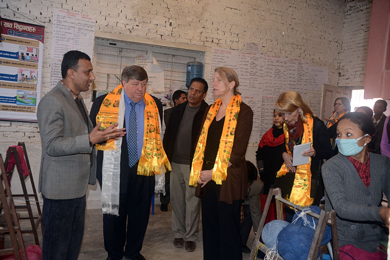 US Ambassador to Nepal Mr. Peter W. Bodde and GWI Director Ms. Nina Smith and team visited and observed Weaving Training for 50 Women